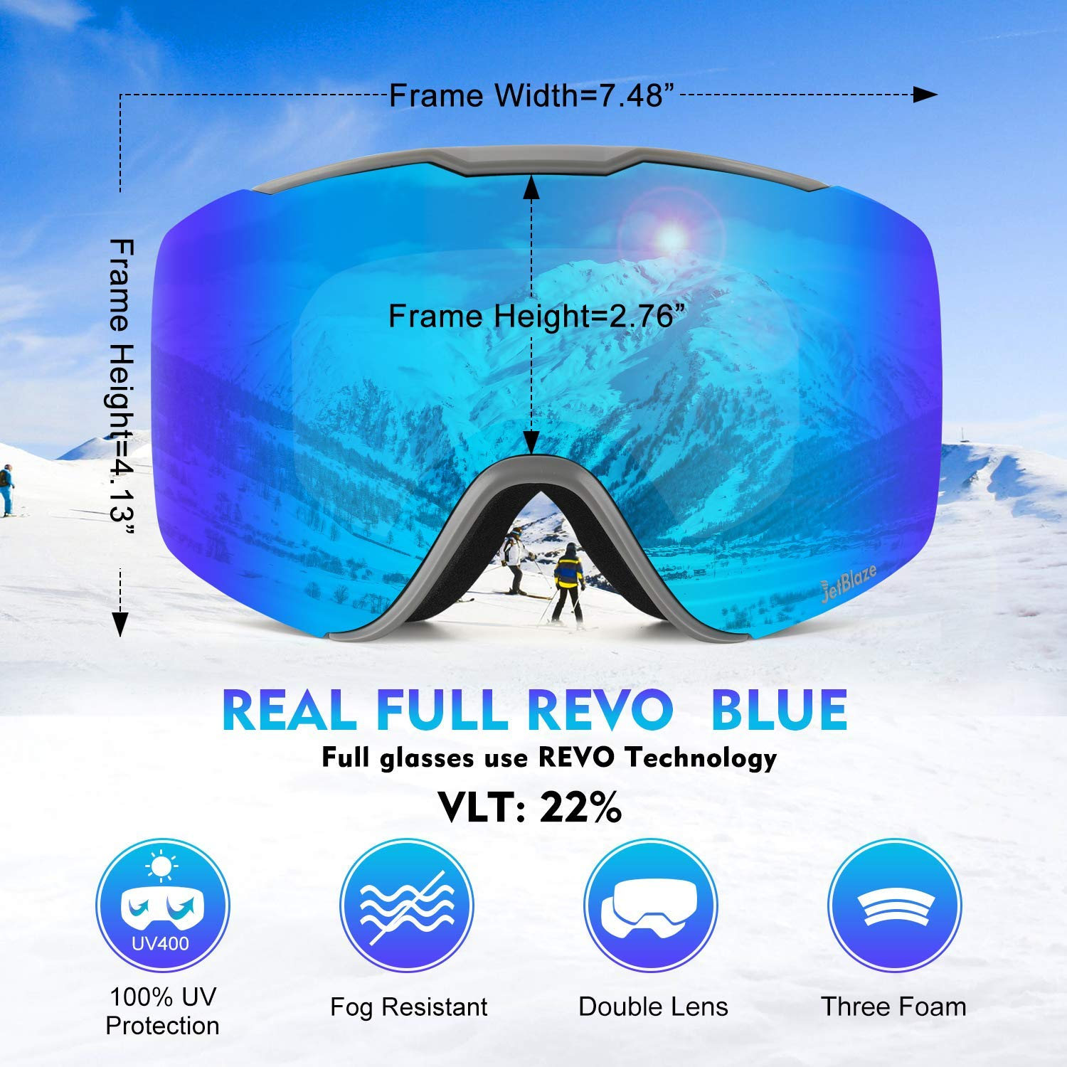 JetBlaze Replacement Lenses for Magnet Interchangeable Spherical Lens Ski Googles